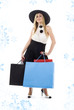 elegant blonde in retro hat with shopping bags