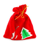 Christmas bag with gifts isolated on a white background