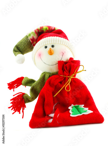 Christmas snowman with sack of gifts isolated