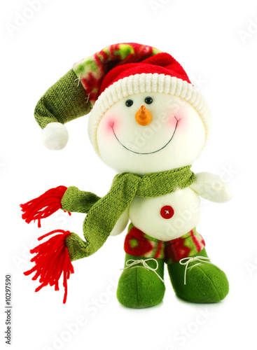 Christmas snowman isolated on a white background