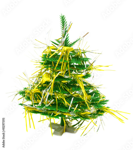Christmas tree with garland isolated on a white background