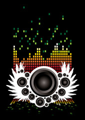 Abstract illustrated musical background with speakers