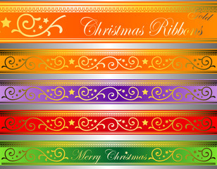 vector of christmas decor ribbons gold