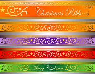 vector of christmas decor ribbons gold