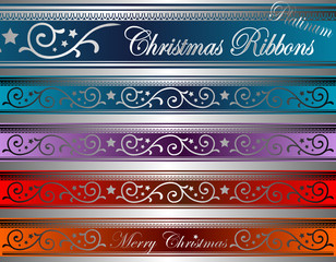 vector of christmas decor ribbons platinum