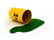 3d illustration of radioactive barrel on white background