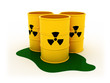3d illustration of three radioactive barrels on white background
