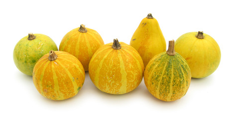 Yellow pumpkins isolated on white background