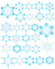 illustration of assorted snowflake designs on white