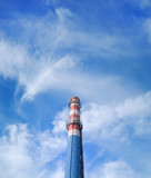 urban chimney-stalk on a background cloudy sky poster