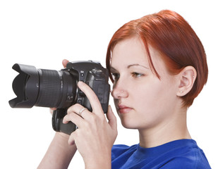 Portrait of a redheaded girl photographer