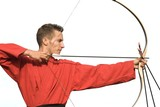 Young male archer aiming with perfect geometry, isolated poster