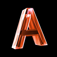 letter A in red glass 3D