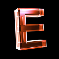 letter E in red glass 3D