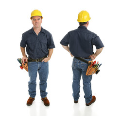 Front and back views of a construction worker.