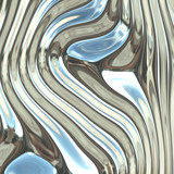 Smooth glossy chromed warped reflective metal surface poster