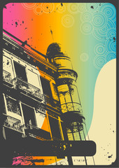retro romantic urban background with rainbow flow