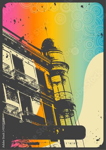 retro romantic urban background with rainbow flow