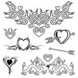 Heart shape tattoo design, black and white vector.