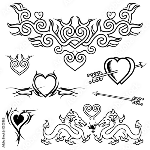 Black And White Heart Tattoo Designs Heart Shape Tattoo Design