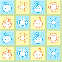 Baby stitches seamless pattern in pastel colors