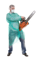 bad doctor isolated on white background with diesel saw