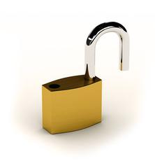 New shiny unlocked padlock over white background
