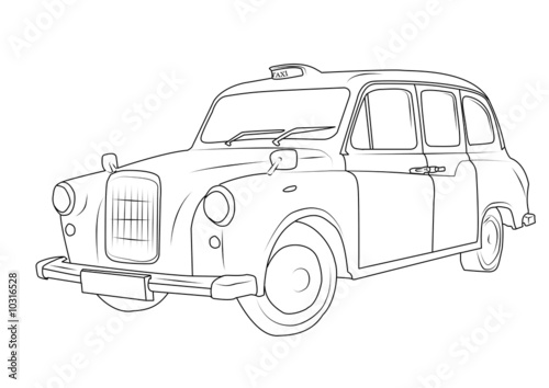 London Black Cab Drawing Doxin Colouring Pages