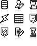 Database black contour web icons V2 poster