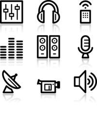 Media black contour web icons V2