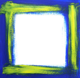 Rough oil-painted frame, blue with yellow brush strokes. poster