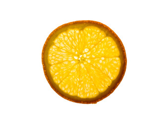 a backlit piece of sliced orange - healthy eating
