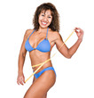 Latino woman with a tape measure, diet concept