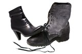 Military male boot and elegant female shoe