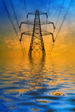 Silhouette of electricity pylon with flooded water effect poster