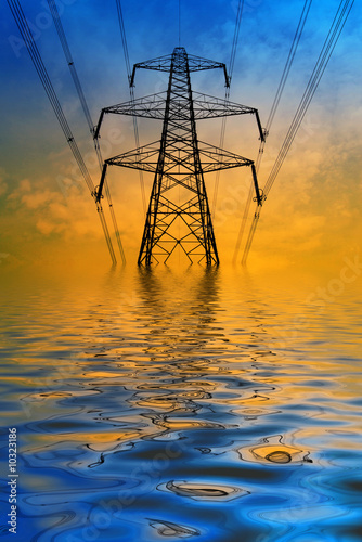 Silhouette of electricity pylon with flooded water effect