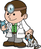 Illustration of veterinarian with animals poster
