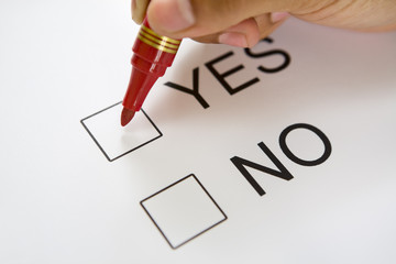 Holding pen on top 'Yes' checkbox