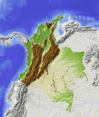 Colombia. Shaded relief map, colored for elevation. © Arid Ocean