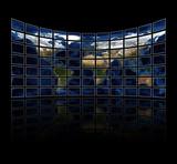 Multi media screens displaying the atlas - courtesy NASA poster