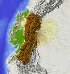 Ecuador. Shaded relief map, colored for elevation. © Arid Ocean