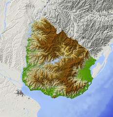 Uruguay. Shaded relief map, colored for elevation. © Arid Ocean