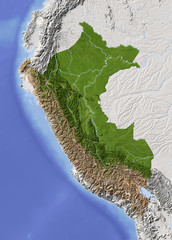 Peru. Shaded relief map, colored for vegetation.