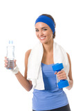 Woman in sportswear with bottle of water and dumbbell poster