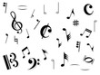 Large musical note set with shadows