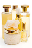 golden collection of beauty and hygiene products isolated poster