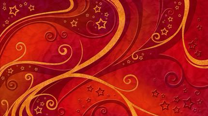 Ranken und Sterne rot
