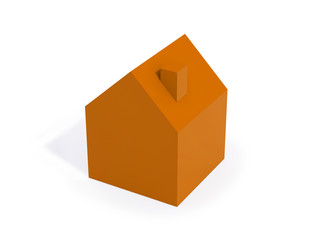 one orange house isolated on white background