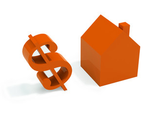 house and dollar on white background