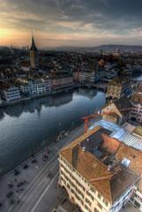 View from Grossmuenster, Zürich, Switzerland.
